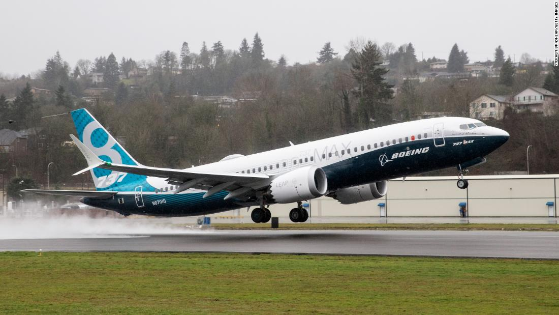 RENTON, WA - JANUARY 29: A Boeing 737 MAX 8 airliner lifts off for its first flight on January 29, 2016 in Renton, State. The 737 MAX is the newest of Boeing's most popular airliner featuring more futel efficient engines and redesigned wings. (Photo by Stephen Brashear/Getty Images)